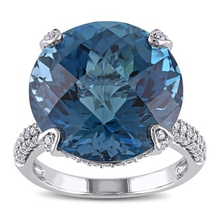 Miadora Signature Collection 14k White Gold London Blue Topaz 5/8ct TDW Diamond Cocktail Ring (G-H, SI1-SI2)