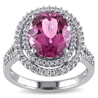 Miadora Signature Collection 14k White Gold Pink Tourmaline 1/2ct TDW Diamond Double Halo Cocktail Ring (G-H, SI1-SI2)