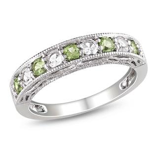 Miadora Sterling Silver Peridot Created White Sapphire Ring
