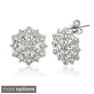 ICZ Stonez Silver Cubic Zirconia Snowflake Stud Earrings