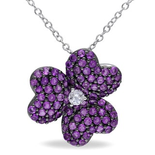 Miadora Sterling Silver Created White Sapphire and Amethyst Flower Necklace