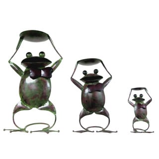 D-Art Set of 3 Antique Iron Frog Candle Holder (Indonesia)