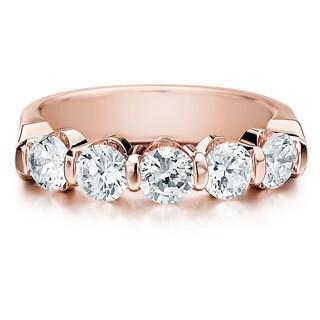 Amore 14k or 18k Rose Gold 1 1/2ct TDW 5-stone Bar Set Diamond Wedding Anniversary Band (G-H, SI1-SI2)