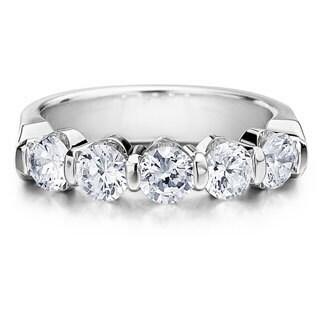 Amore Platinum 1 1/2ct TDW 5-stone Bar Set Diamond Wedding Anniversary Band (G-H, SI1-SI2)