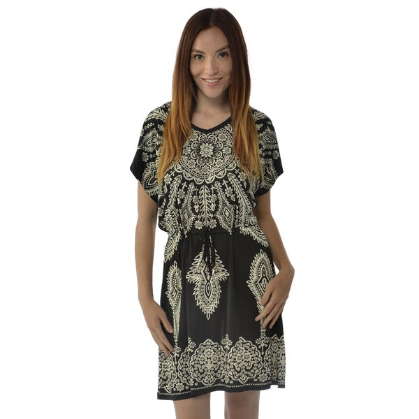 Leisureland Women's Black Floral Print Mini Dress