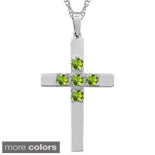10k Gold Designer Round-cut Birthstone Cross Necklace