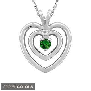 10k Gold Round-cut Designer Heart Birthstone Necklace