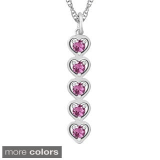 10k Gold Designer Stacked Hearts Birthstone Necklace
