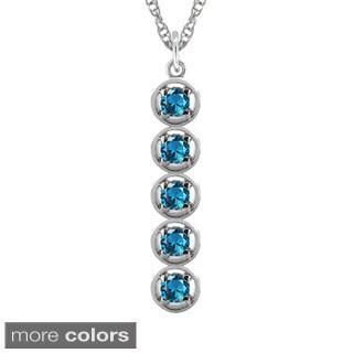 10k Gold Designer Stacked Round Birthstone Necklace