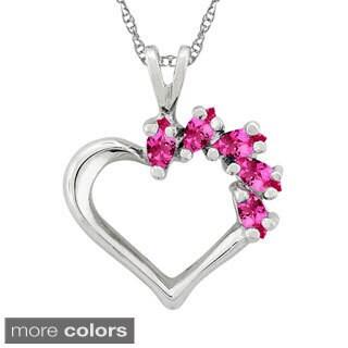 10k Gold Designer 5-stone Heart Birhtstone Pendant Necklace