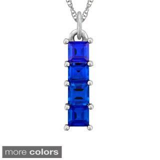 10k Gold Designer 4 Square-cut Birthstone Pendant Necklace