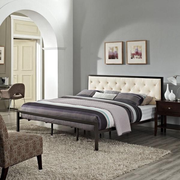 Mia Fabric King Platform Bed Frame  Overstock Com Shopping
