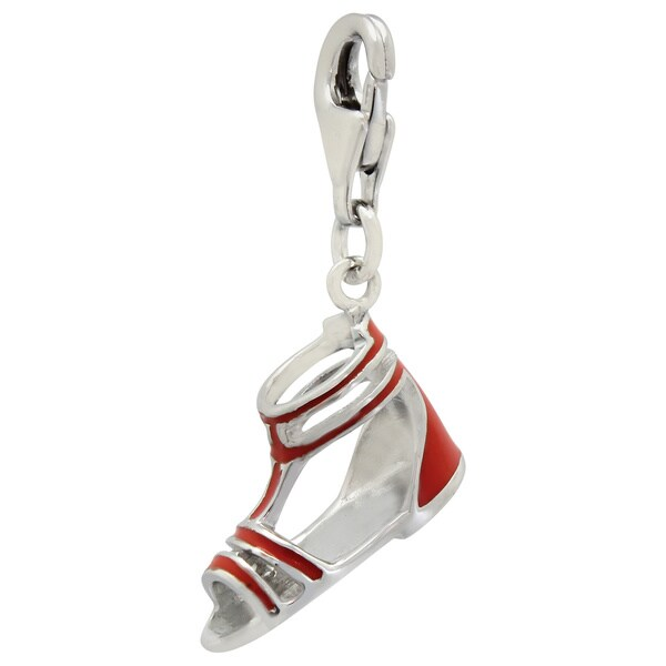 Gioelli Sterling Silver Orange Enamel Sandal Charm
