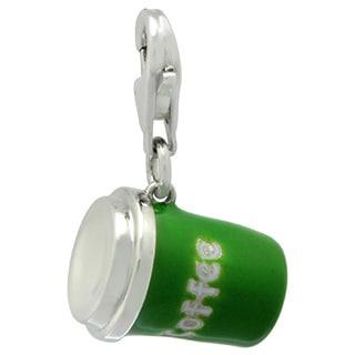 Gioelli Sterling Silver Green Enamel Coffee Cup Charm