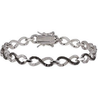 White Goldplated Silver 1/3ct TDW Black and White Diamond Infinity Bracelet (G-H, I1-I2)