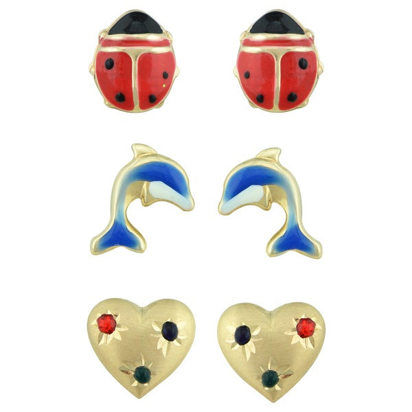14k Yellow Gold Heart, Ladybug and Dolphin Stud Earring Set