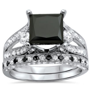 18k White Gold 4 1/10ct UGL-certified Black Princess-cut Diamond Engagement Bridal Ring Set