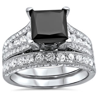 18k White Gold 4 1/2ct UGL-certified Black Princess-cut Diamond Engagement Bridal Ring Set