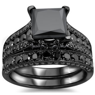 14k Black Gold 4 1/2ct UGL-certified Black Princess-cut Diamond Engagement Bridal Ring Set