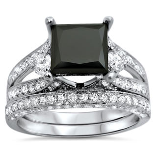 18k White Gold 4ct UGL-certified Black Princess-cut Diamond Engagement Bridal Ring Set