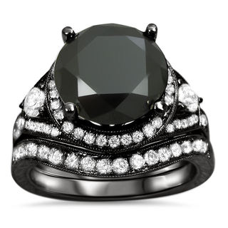 14k Black Gold 5ct Certified Black Round Diamond Engagement Bridal Ring Set