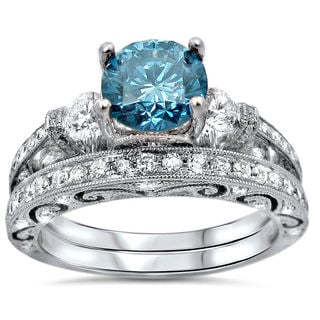 18k White Gold 1 7/8ct TDW Blue Round Diamond UGL-certified Bridal Ring Set