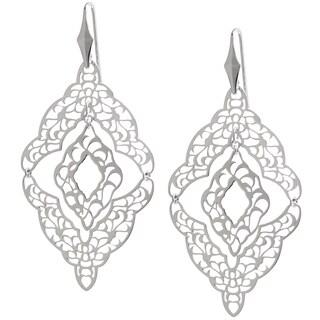 Sterling Silver Filigree Cut-out Mobile Chandelier Dangle Earrings