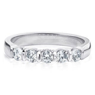 Amore Platinum 1/2ct TDW 5-Stone Bar Set Diamond Wedding Anniversary Band (G-H, SI1-SI2)