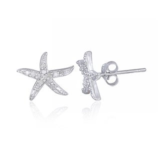 DB Designs Sterling Silver 1/8ct TDW Diamond Starfish Stud Earrings (I-J, I2-I3)