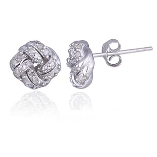 DB Designs Sterling Silver 1/4ct TDW Diamond Love Knot Stud Earrings (I-J, I2-I3)