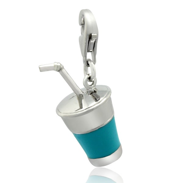 Gioelli Sterling Silver Turquoise To-go Drink Cup Charm