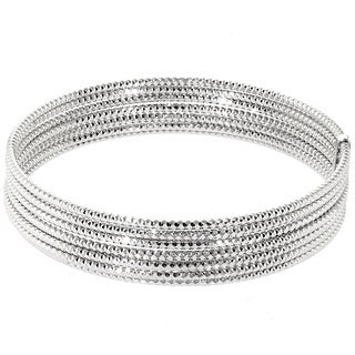 Sterling Silver Diamond Cut Detailed Stacked 7-row Bangle Bracelet