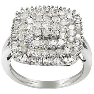 Sterling Silver 1ct TDW Diamond Square Ring (H-I, I2-I3)