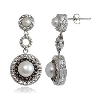 Glitzy Rocks Sterling Silver Freshwater Pearl Black Diamond Earrings