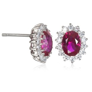 Sterling Silver Cubic Zirconia Synthetic Ruby Earrings