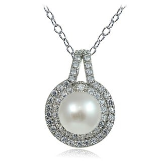 Glitzy Rocks Sterling Silver Freshwater Pearl Cubic Zirconia Necklace (8 mm)