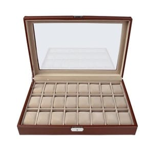 Escada Designs Honey Brown Leather 24-watch Glass Top Display Case