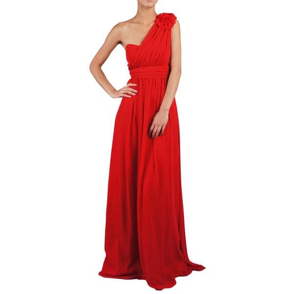 Women's One Shoulder Flower A-line Evening Dress