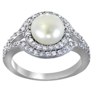 Glitzy Rocks Sterling Silver Freshwater Pearl Round-cut Cubic Zirconia Ring (8 mm)