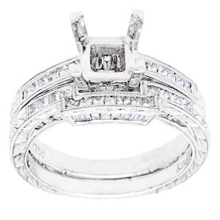 18k White Gold 9/10ct TDW Diamond Bridal Ring Set (G-H, VS2-SI1)