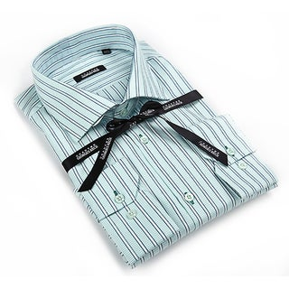 Georges Rech Men's Black and Green Striped Button-down Shirt