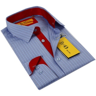 BriO Milano Men's Blue/ Red Striped Button-down Dress Shirt 14445493