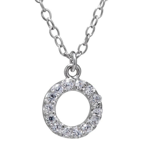 Sterling Silver Accent White Cubic Zirconia Open Circle Charm Necklace with 18-inch Cable Chain