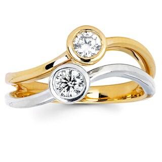 14k Two-tone Gold 2/5ct TDW Bezel-set Diamond Fashion Ring (I-J, I1-I2)