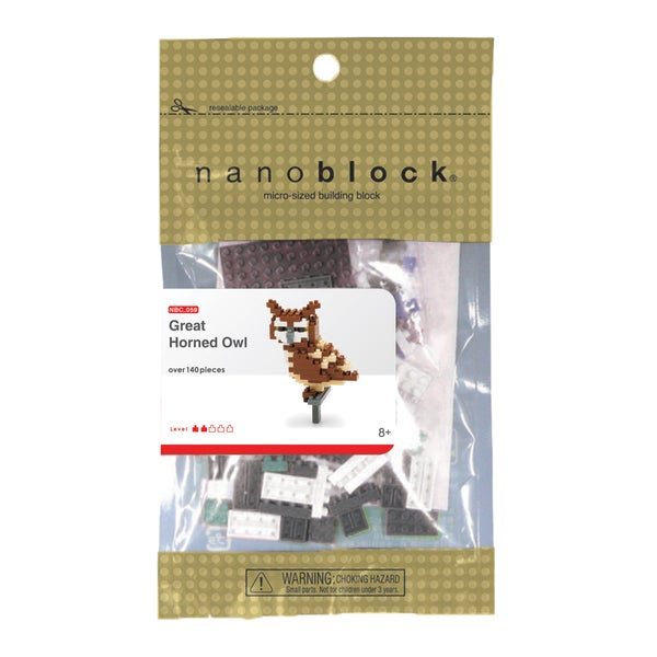 nanoblock Animals Level 2 Great Horned Owl 140-piece Set