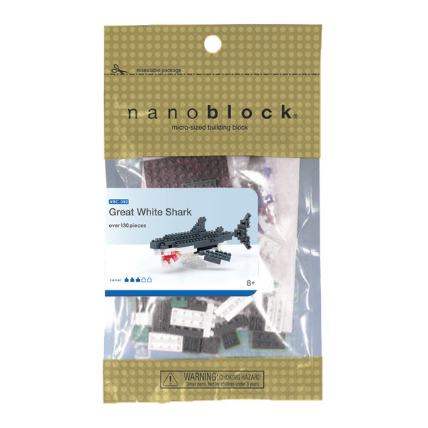 nanoblock Animals Level 3 Great White Shark 130-piece Set
