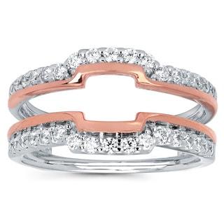 14k Two-tone Gold 1/2ct TDW Diamond Wrap Guard Ring (I-J, I1-I2)