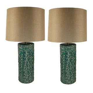 JT Lighting Ceramic Green Table Lamp (Set of 2)