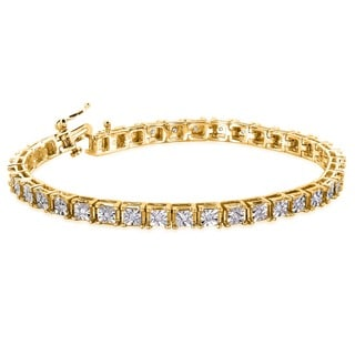 Annello Yellow Goldplated Silver 1/2ct TDW Square Diamond Bracelet (H-I, I2-I3)