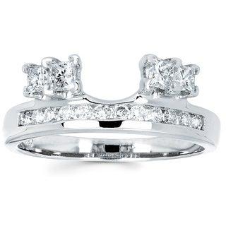 14k White Gold 3/4ct TDW Round and Princess-cut Diamond Ring Wrap (I-J, I1-I2)